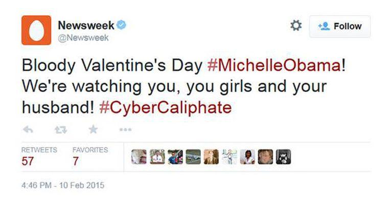 Screenshot Newsweek-hack door Cyber Caliphate.