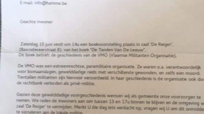 Onduidelijkheid over afzender van valse brief over boekvoorstelling extreemrechtse VMO: Gemeente en politie zien geen reden om voorstelling af te schaffen