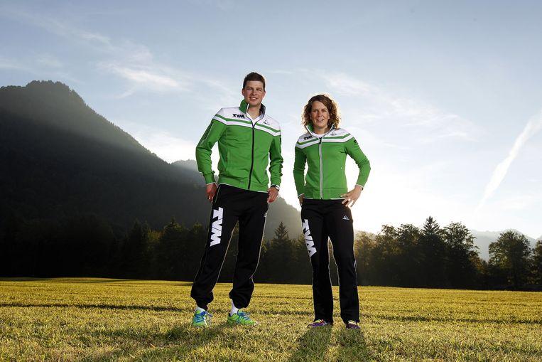 Sven Kramer en Ireen Wüst in hun TVM outfits. Beeld anp