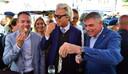 PVV-leider Geert Wilders voert campagne samen met Filip Dewinter en Anke Van dermeersch, van het Vlaams Belang.
