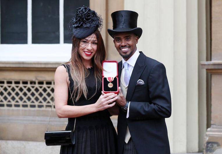 Mo Farah en zijn vrouw Tania.