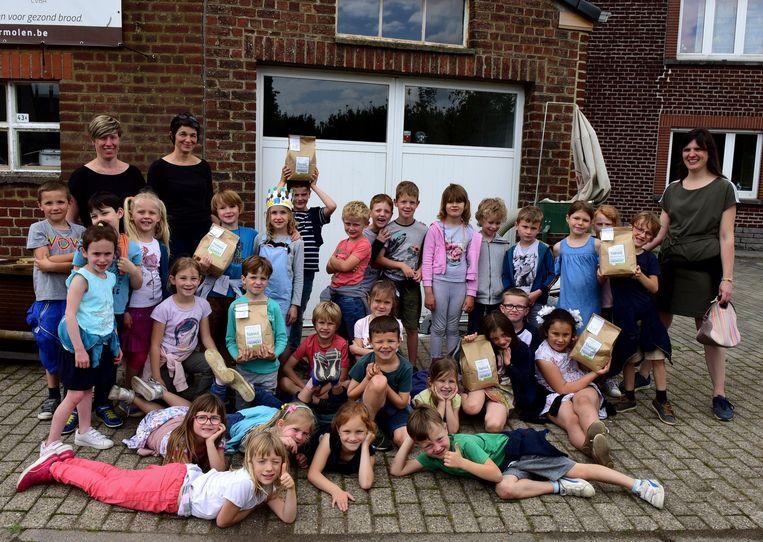 De kinderen van het eerste leerjaar kwamen naar de Flietermolen