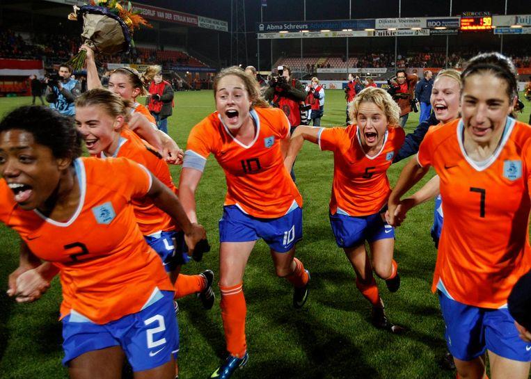 Het Nederlands dames elftal kwalificieerde zich in 2008 EK in Finland. Beeld anp