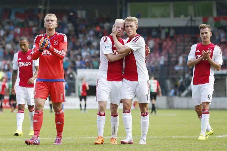 Ajax-spelers Jasper Cillessen, Davy Klaassen, Viktor Fischer en Arek Milik. Beeld null