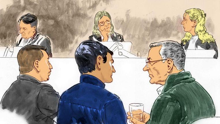 Laurens Boellaard, Rudolf D. (zoon Meijer) en Frans Meijer in de rechtbank Beeld anp