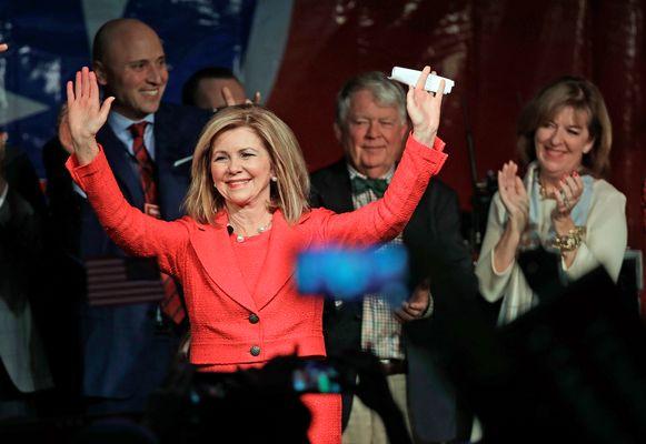 Vreugde bij de Republikeinse Marsha Blackburn uit Tennessee, die een belangrijke senaatszetel kon oppikken.