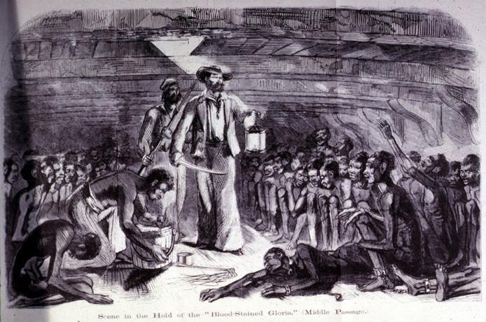 Slavernij, slaven in het ruim van schip