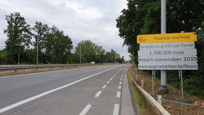 Verkeer op Denderbrug rijdt tot 4 augustus weer over twee rijstroken in beide richtingen