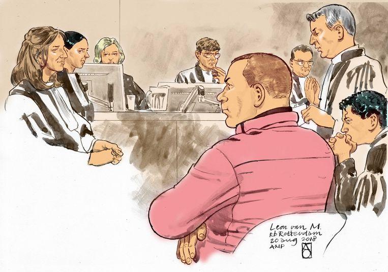 Verdachte Leon van M. op een rechtbankschets.