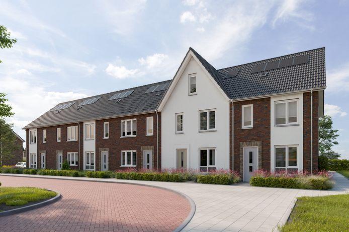Een impressie van de woningen in het eerste deel van nieuwbouwwijk Hoge Wei in Oosterhout. Inmiddels kan ook het tweede deel van start.
