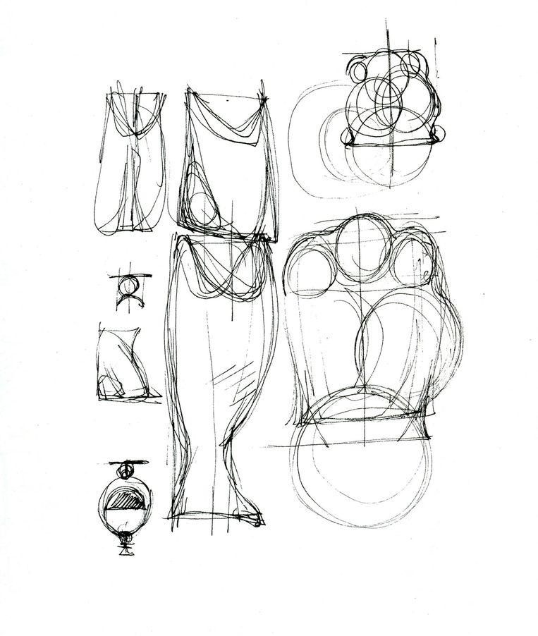 Schetsen van glaswerk, uit het boek Over Architectuur Beeld Cees Dam