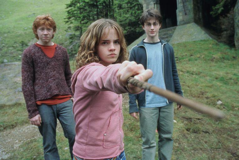 Vanaf links: Rupert Grint, Emma Watson en Daniel Radcliffe in Harry Potter and the Prisoner of Azkaban. Beeld