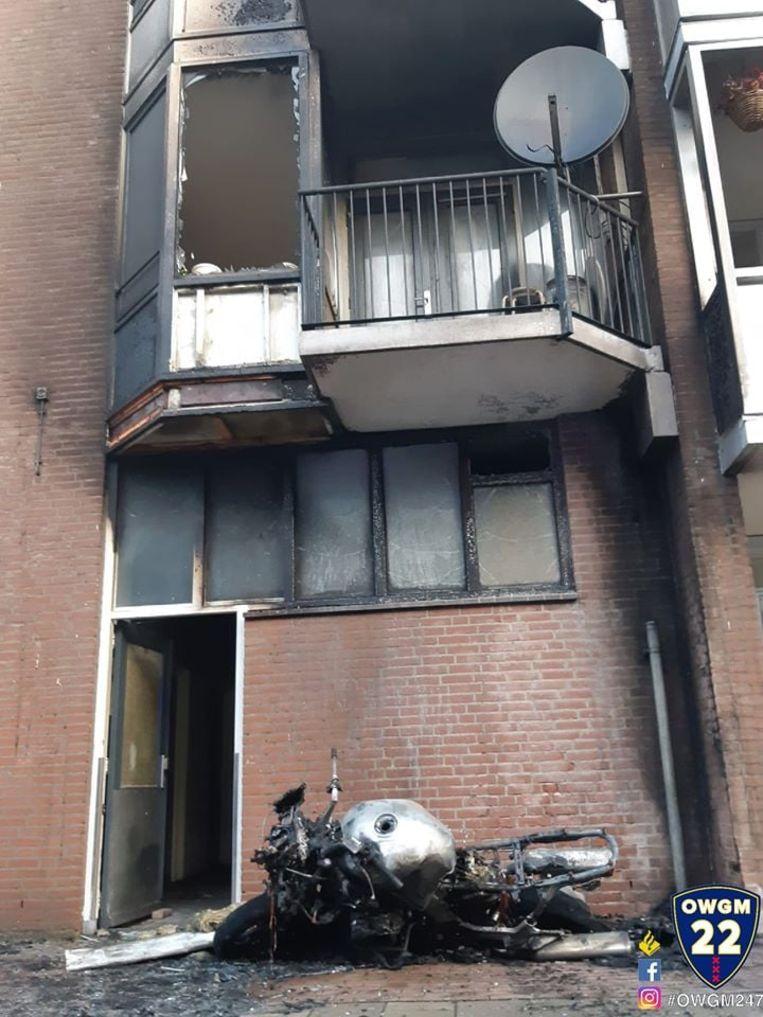 De uitgebrande motor. Beeld Facebook Politie Amsterdam-Oost Watergraafsmeer