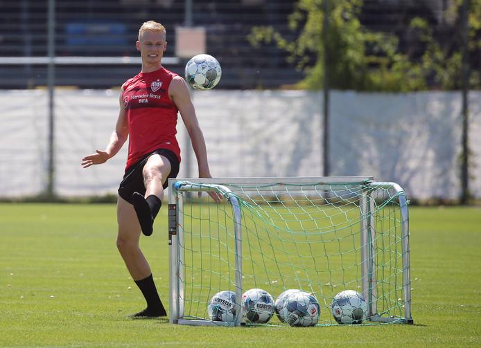 Timo Baumgartl bij waarschijnlijk een van zijn laatste trainingen voor VfB Stuttgart.