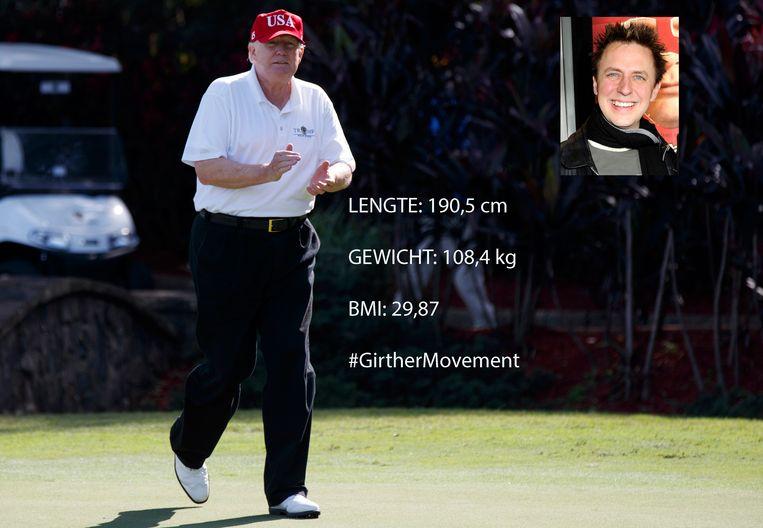 Donald Trump op de golfbaan van de International Golf Club in West Palm Beach in  Florida. Inzet: regisseur James Gunn.