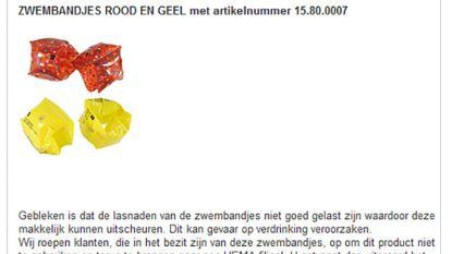 afa6607bc3fadc Economie Winkelketen Hema haalt zwembandjes in rood en geel uit de rekken.  De lasnaden van de bandjes zijn niet goed gelast, waardoor ze kunnen  uitscheuren.