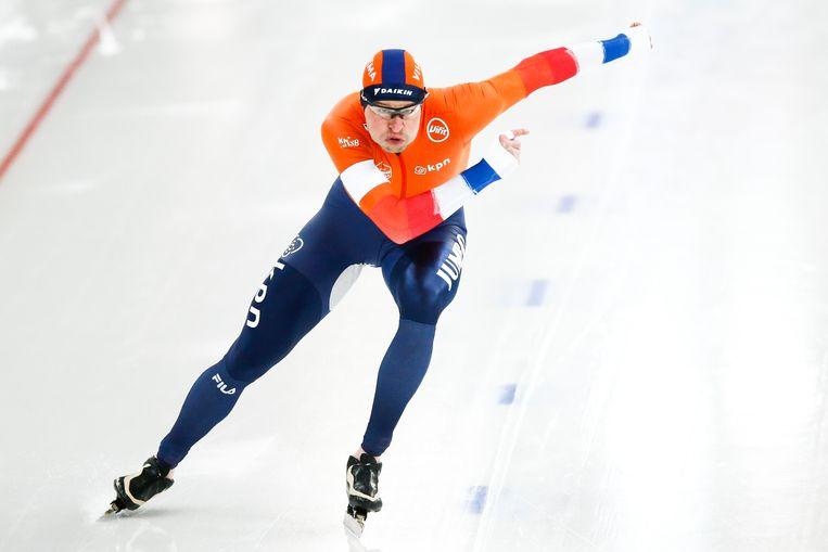 Sven Kramer in actie op de 500 meter tijdens het WK allround in Hamar. Beeld ANP