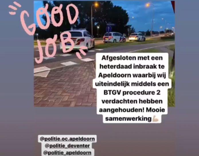 Politieteams van uit Apeldoorn, Deventer en van Politiehonden Oost-Nederland werkten vanochtend vroeg samen om een man en een vrouw op te pakken.
