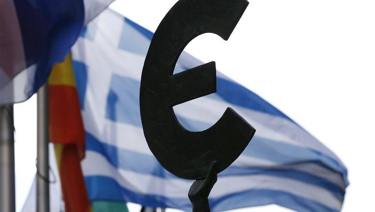 Griekse vlak bij het EU-parlement in Brussel Beeld REUTERS