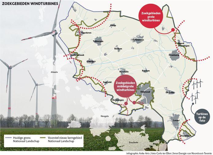 Plekken waar mogelijk windturbines komen in Noordoost-Twente.