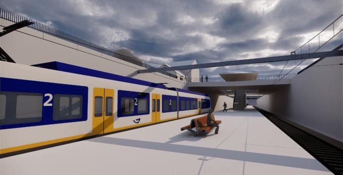 Het nieuwe ondergrondse perron bij het station Vught.