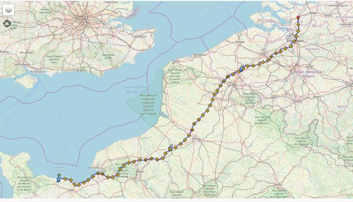 Route die Nispense hardlopers met het bevrijdingsvuur gaan afleggen van Arromanches-les-Bains naar Nispen.