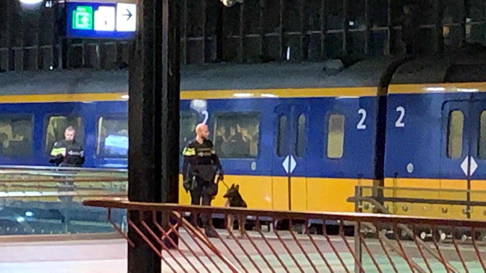 Een agent met een politiehond op station Eindhoven