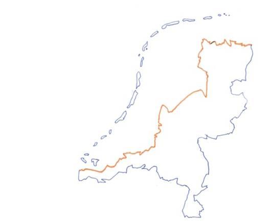 De route loopt langs de NAP-lijn van Nederland.