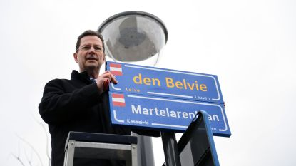Leuven is alweer een Leives straatnaambordje rijker: 'den Belvie'. Of moest het toch 'Belvue' zijn?