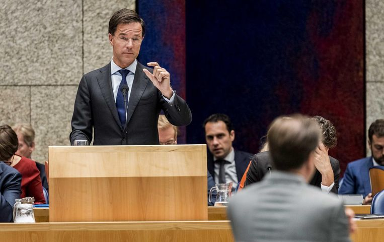 Premier Rutte tijdens de Algemene Beschouwingen. Beeld anp