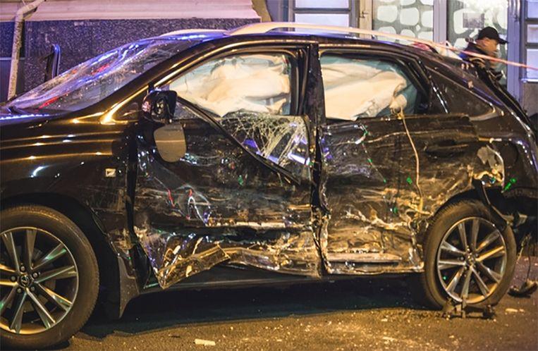 De Lexus van Zaitseva, tot schroot herleid.