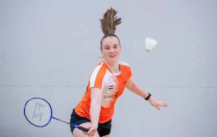 Badmintonster Kelly van Buiten heeft zich snel aangepast op eredivisie-niveau.