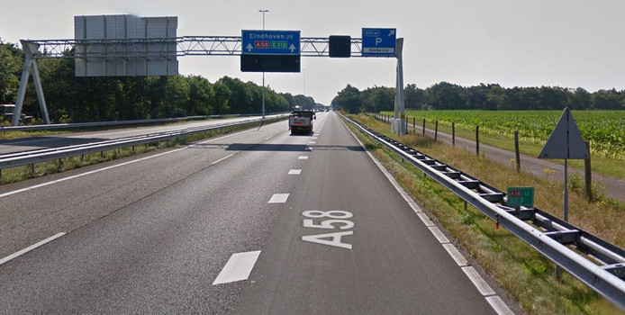 De A58 richting Eindhoven.