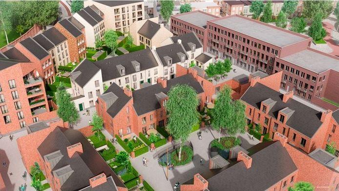 Een impressie van hoe de gemeente de woningbouw in het gebied ziet.