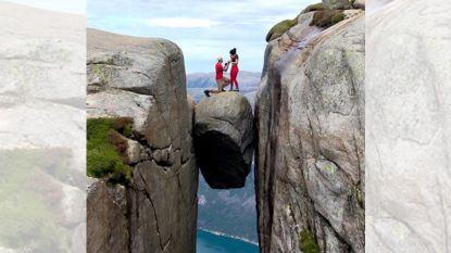 """""""Ze heeft ja gezegd. Ik denk dat ze er gewoon af wilde"""": man doet aanzoek op rotsblok 1.000 meter hoog"""