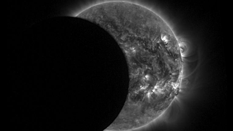 De gedeeltelijke zonsverduistering op 29 april, 2014. Beeld ANP