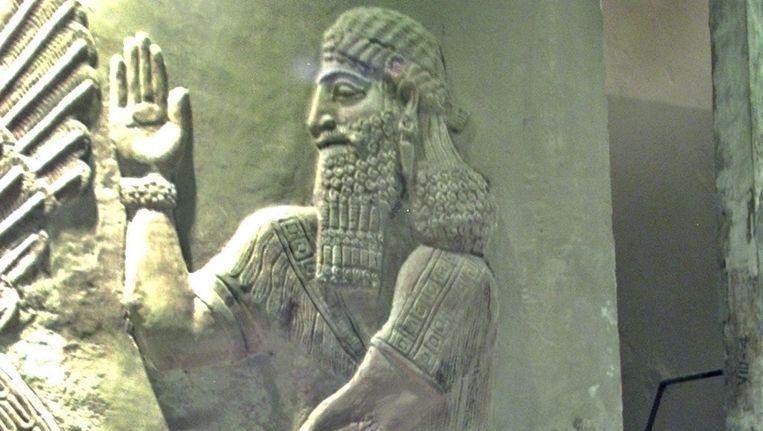 Een restant van de stad Nimrud in het Nationale Museum in Bagdad. Beeld AFP