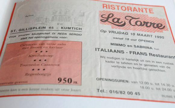 Het eerste menu kostte 950 frank.