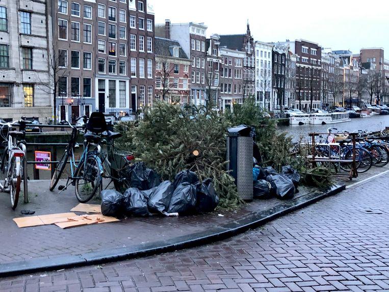 Kerstbomen op de hoek Singel, hoek Gaathuismolensteeg. Beeld Eva de Vos