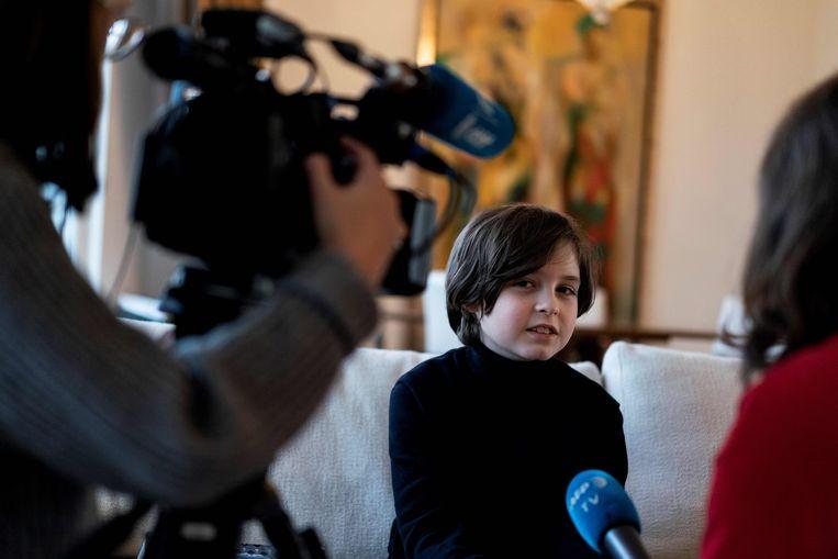 Laurent Simons in gesprek met het Franse persbureau AFP.  Beeld AFP