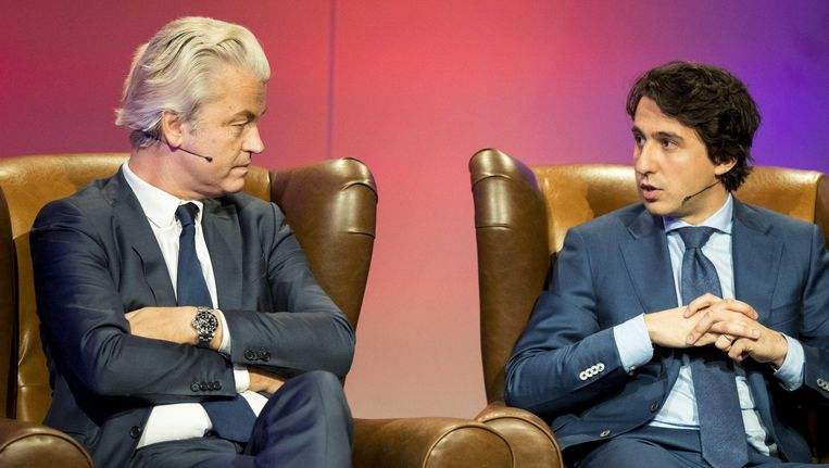 PVV-leider Geert Wilders en GroenLinks fractievoorzitter Jesse Klaver tijdens de EenVandaag Politicus van het Jaar-verkiezing 2016. Beeld anp