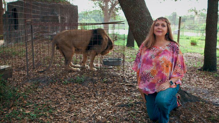 Carole Baskin in 'Tiger King'. Beeld Netflix