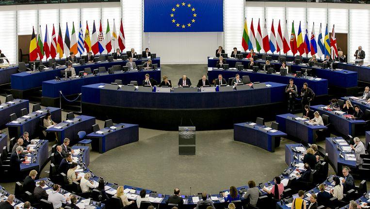 De plenaire zaal van het Europees Parlement Straatsburg. Beeld null