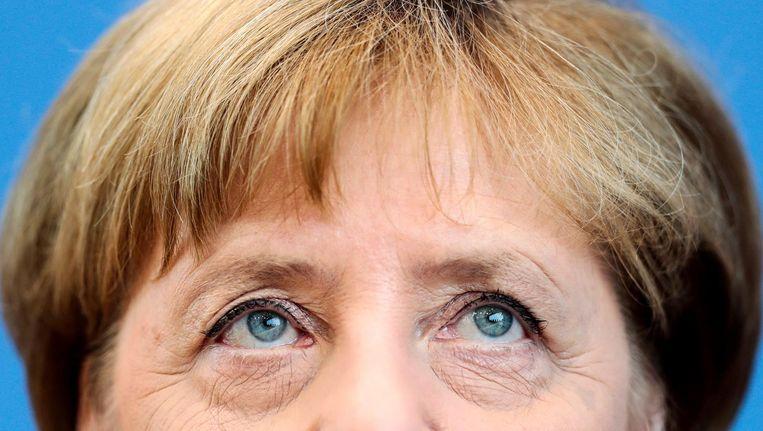 Angela Merkel tijdens haar persconferentie op 28 juli 2016. Beeld ap