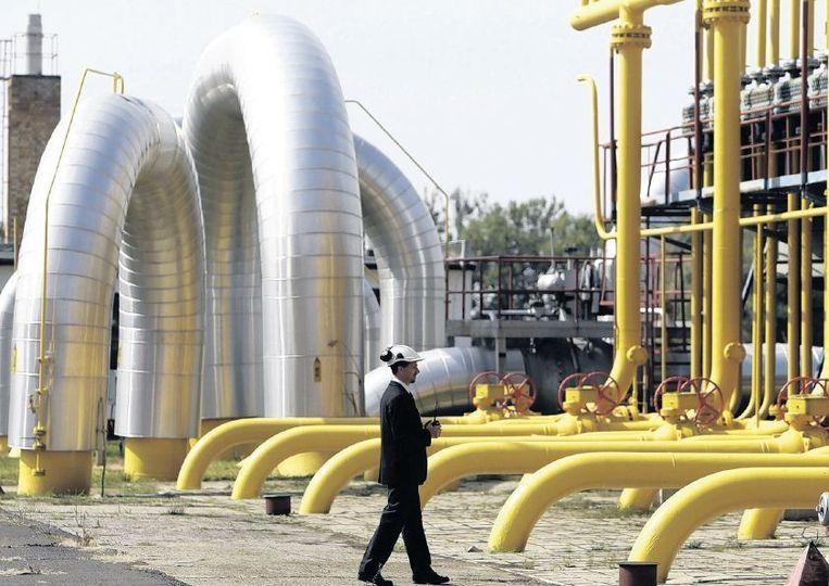Een compressiestation voor gas aan de Slowaaks-Oekraïense grens. Beeld reuters
