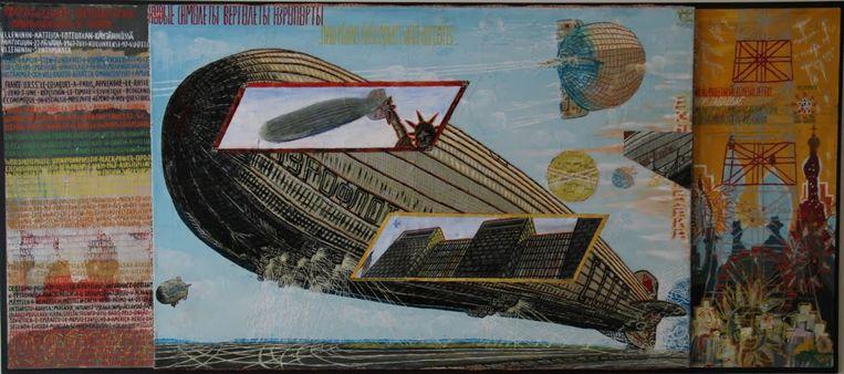 Project Asbury I, een van Van Genks werken, verbeeldt een zeppelin van het Russische Aeroflot. Beeld Jeanette Vos001