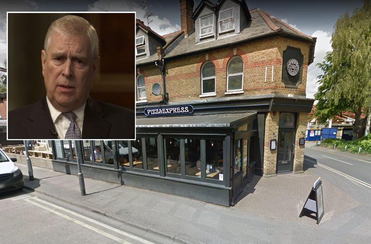 De PizzaExpress in het Engelse Woking. Inzet: prins Andrew in het BBC-interview.