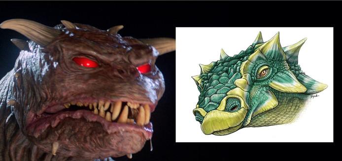Het monster Zuul uit de film Ghostbusters (links) met een illustratie van hoe zijn dino-naamgenoot er uit zou hebben gezien.