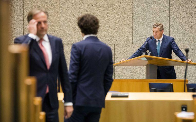 Alexander Pechtold (D66), Jesse Klaver (Groenlinks) en Sybrand Buma (CDA). Beeld ANP