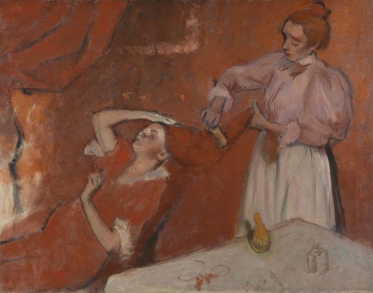 Edgar Degas, La Coiffure, 1896. Ook wel 'studie in rood' genoemd. Beeld National Gallery